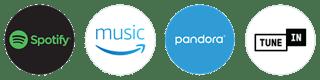 Spotify, Amazon Music, Pandora, TuneIn