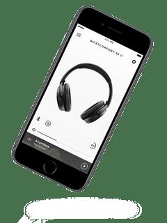 La aplicación Bose Connect se muestra en la pantalla de un teléfono inteligente