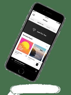 Teléfono inteligente mostrando la aplicación Bose Music