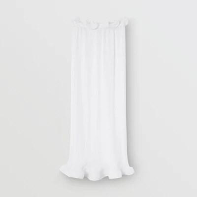 ruffle detail chiffon plisse skirt in optic white women burberry