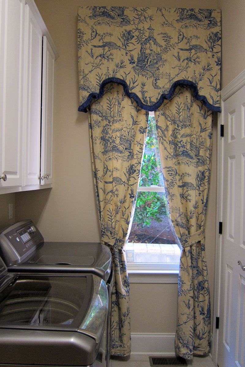Chinoiserie Toile Window Treatment Sort Cornice With Trim And Rod Pocket Curtains Sewing