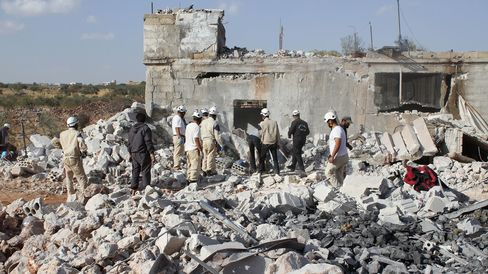 Wreckage of buildings at the site of the alleged Russian airstrikes targeting the Jabal al-Zawiya town of Idlib, Syria on Oct. 3, 2015.