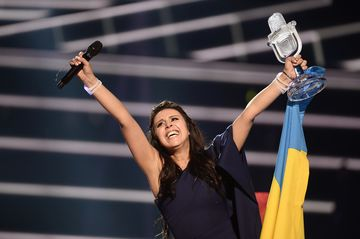 Ukraine's Jamala reacts on winning the 2016 Eurovision Song Contest final at the Ericsson Globe Arena in Stockholm, Sweden.