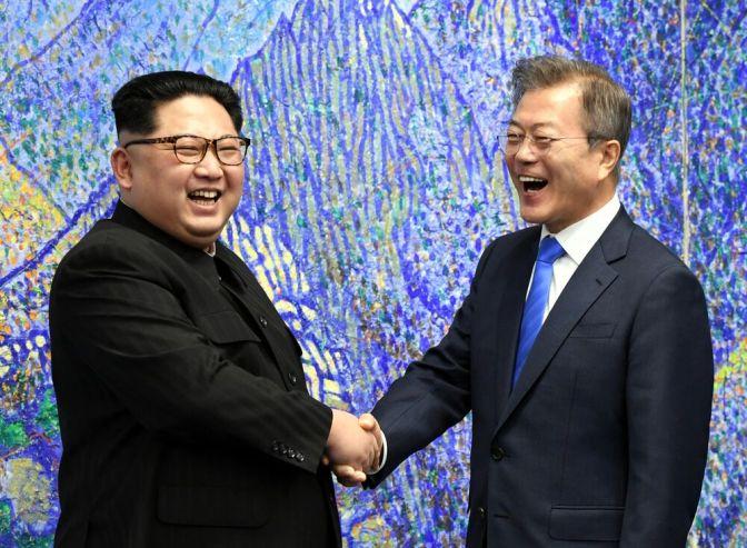 Kim Jong Un with Moon Jae-in in April. Source: Inter-Korean Summit Press Corps/Pool