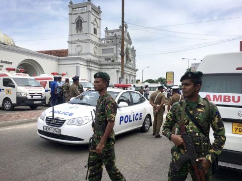 Sri Lankan Army soldiers secure the area around St. Anthony's Shrine after a blast in Colombo on April 21.