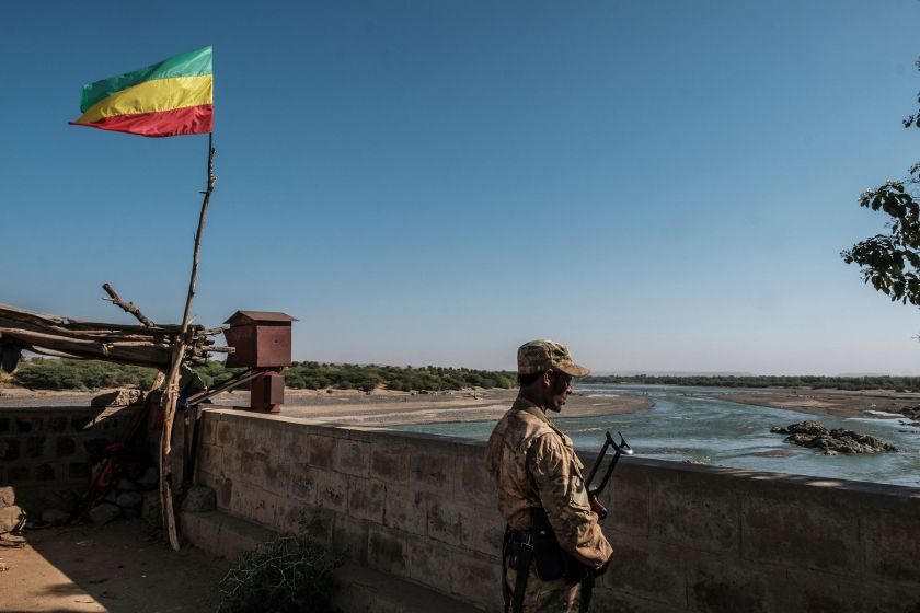 A member of the Amhara Special Forces watches on at the border crossing with Eritrea in Humera, Ethiopia.