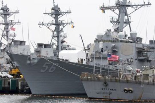 The USS John S. McCain destroyer at the Yokosuka Naval Base in Japan.