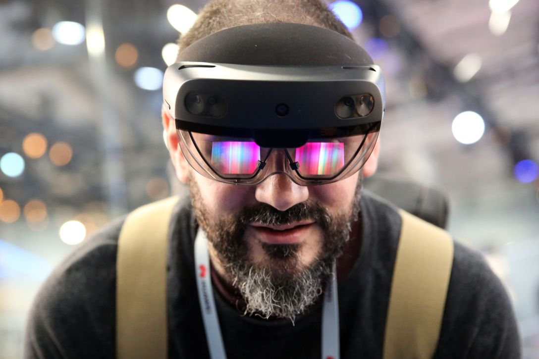 A Microsoft HoloLens 2 headset at the MWC Barcelona in 2019.