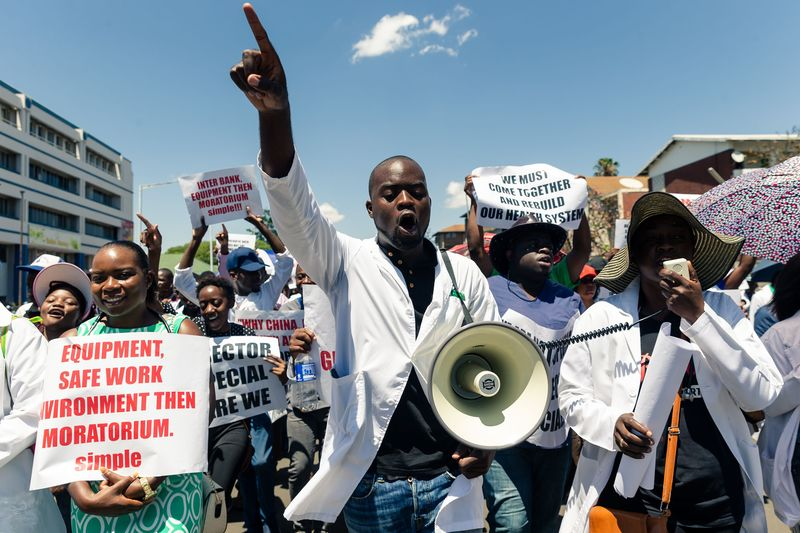 ZIMBABWE-HEALTH-PROTEST