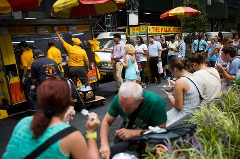 The Halal Guys food cart on West 53rd Street in New York.
