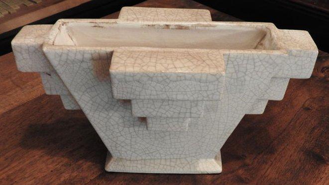 vase art deco en ceramique craquele