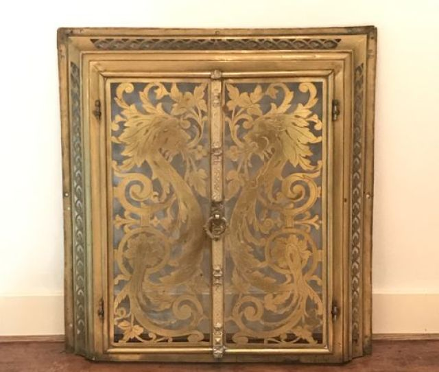 Brass Fireplace Doors In Frame With Openwork Sawed Ornamentation In Renaissance Style The Netherlands