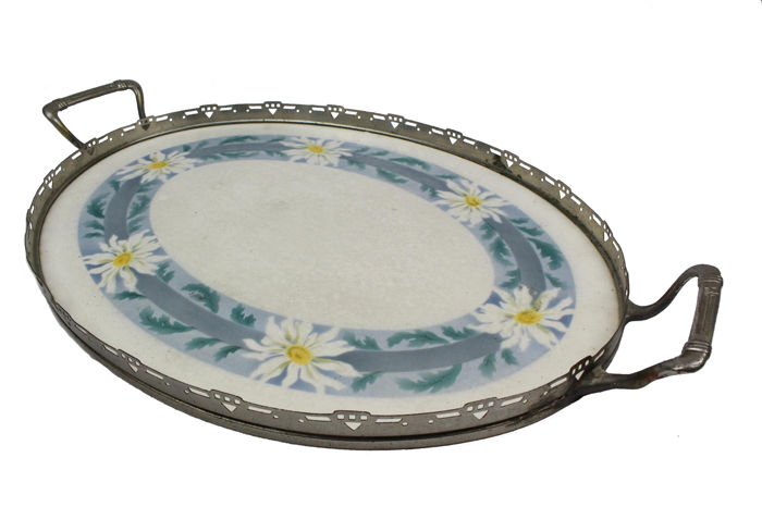 art deco porcelain tile tray with