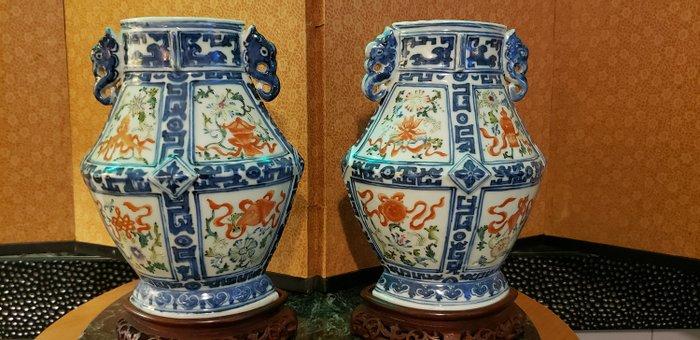 Vase (2) - Porcelain - Archaist Hu Vases - China - 18th century - Catawiki