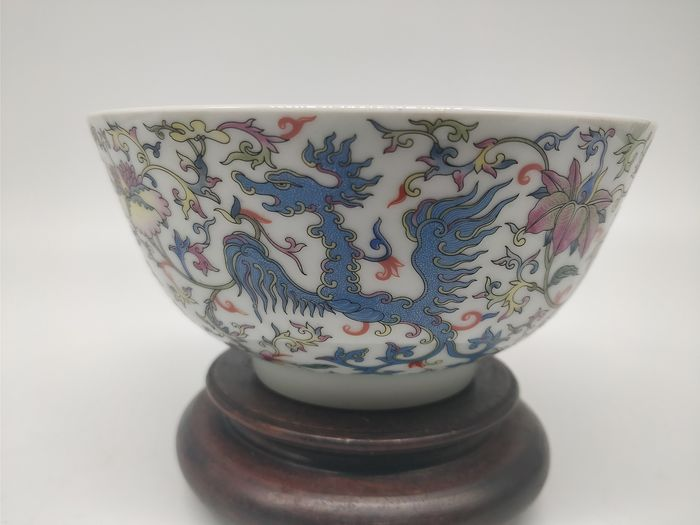 Bowl - Famille rose - Porcelain - Dragon - marque impériale Qianlong - China - Late 20th century - Catawiki