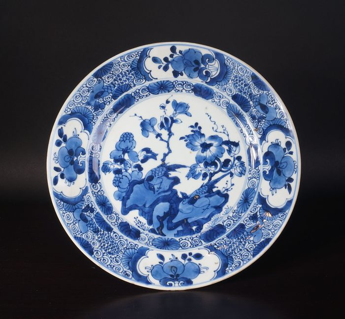 Very nice antique Chinese blue and white bowl with pheasant on rock (1) - Blue and white - Porcelain - China - Kangxi (1662-1722) - Catawiki