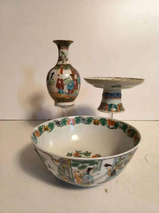 porcelain collection (3) - Famille rose, Famille verte - Porcelain - China - 19th century - Catawiki