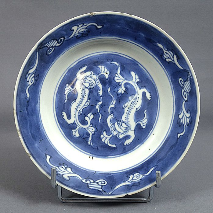Vessel - Blue and white - Porcelain - Dragons - China - Kangxi (1662-1722) - Catawiki