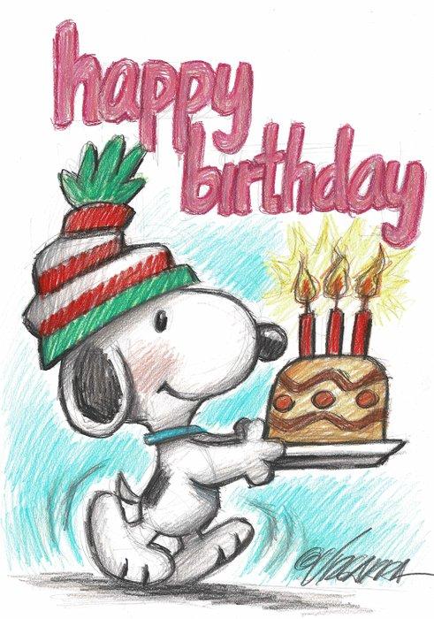 Snoopy Happy Birthday Original Drawing Vizcarra Catawiki