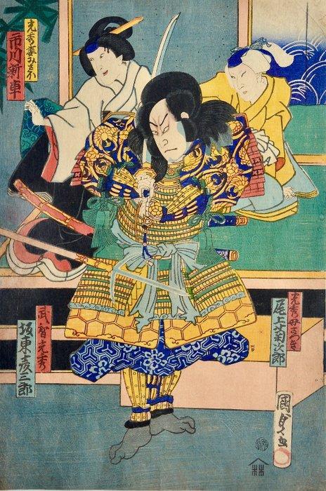 Original woodblock print - Utagawa Kunisada III (1848-1920) - Bandô Hikosaburô V as Mitsuhide, Onoe Kikgoro as his mother Otsuki, Ichikawa Shinsha as Misao - Japan - 1865 - Catawiki