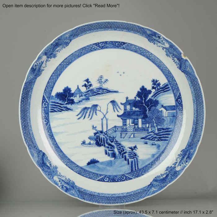 Charger - Blue and white - Porcelain - 43.5CM Qianlong Period - China - 18th century - Catawiki