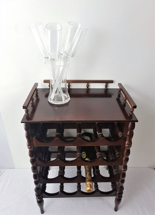 side table wine rack wood mahogany