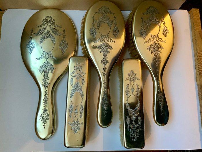 brosses de vanite dorees argentees et ensemble de piece de miroir 5 monture