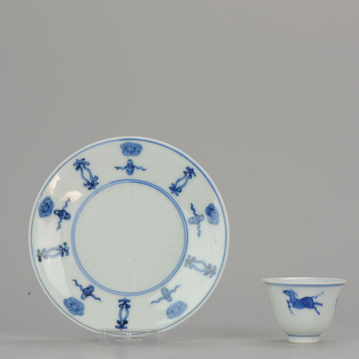 Bowl, Saucer (2) - Blue and white - Porcelain - Transitional Horse Tea Bowl & Lovely buddhist Plate - China - 17th and 19th century - Catawiki