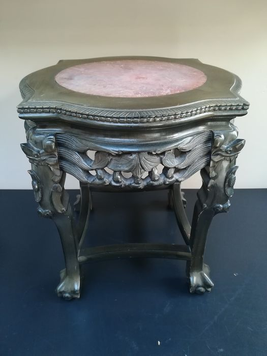 hand stained antique side table with
