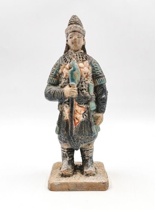 Ancient Chinese Ming Dynasty Glazed Terracotta Soldier Statue - Catawiki