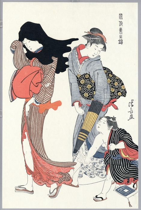 Woodblock print (reprint) - Torii Kiyonaga (1752-1815) - The Entangled Kite-string from the series Customs of the East - ca. 1960 - Japan - Catawiki