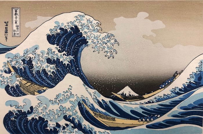 """Woodblock print (reprint) - Katsushika Hokusai (1760-1849) - 'The Great Wave off Kanagawa' - From the series """"Thirty-six Views of Mount Fuji"""" - Japan - ca 1980s"""