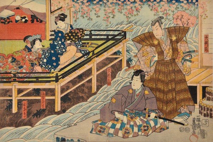 "Original woodblock print - Utagawa Kunisada (1786-1865) - Scene from the play ""Imoseyama onna Teikin"" 妹背山婦女庭訓 (Women's Education at Imose Mountain) - 1849 - Japan - Catawiki"