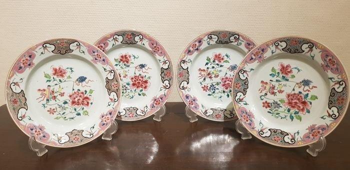 Plate (4) - Famille rose - Porcelain - Set of 4 Plates - China - Yongzheng (1723-1735)