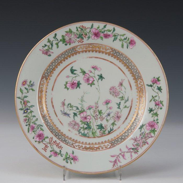 Plate (1) - Famille rose - Porcelain - Flowers - China - Yongzheng (1723-1735)