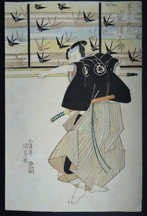 Original woodblock print - Utagawa Kunisada (1786-1865) - Actor Arashi Tokusaburo on stage - 1822 - Japan - Catawiki