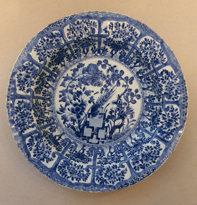 Charger, Dish, Plate - Blue and white - Porcelain - Flowers, Peacock - China - Kangxi (1662-1722)