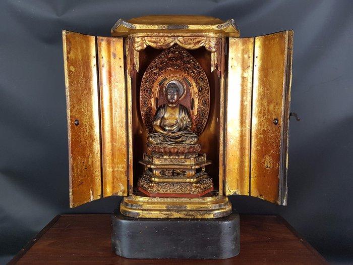 Large portable altar Buddha & zushi - Gilt lacquered wood - Japan - Mid Edo period - Catawiki
