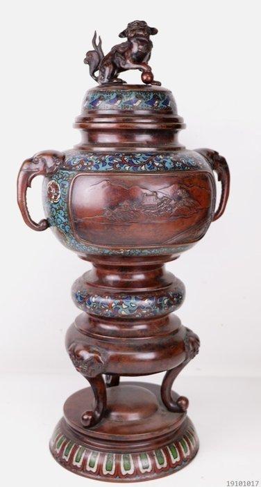 Very large bronze incense burner (67 cm) - Bronze, Enamel - Japan - 19th century - Catawiki