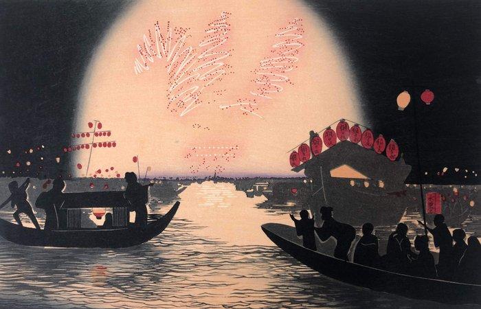 "Woodblock print (reprint) - Kobayashi Kiyochika (1847-1915) - ""Ryôgoku hanabi no zu"" 両国花火之図 (Fireworks at Ryôgoku) - Japan - ca 1960s (Showa period)"