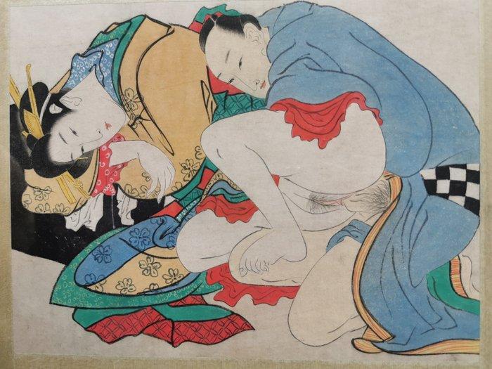 Original woodblock print, Shunga - Erotic scene of a couple - Japan - ca 1900 (Late Meiji period) - Catawiki