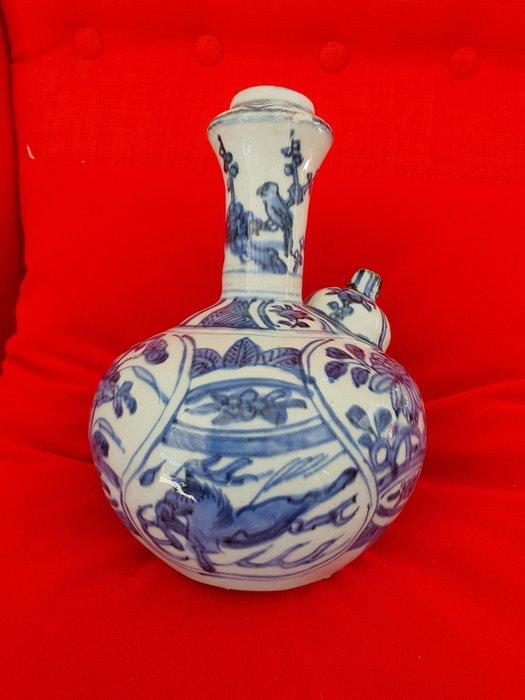 Kendi - Blue and white - Porcelain - Flying Horse, Parrot - Ming Dynasty - China - Wanli (1573-1619) - Catawiki