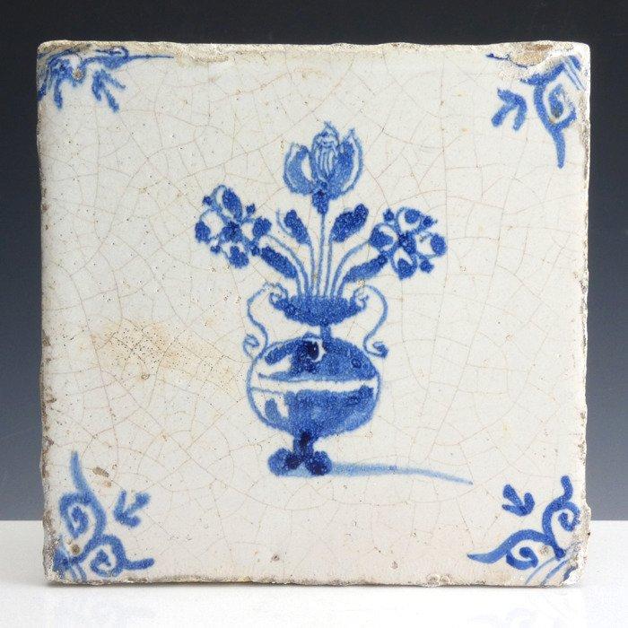 Carrelage Bleu Et Blanc De Delft Avec Vase A Fleurs Catawiki