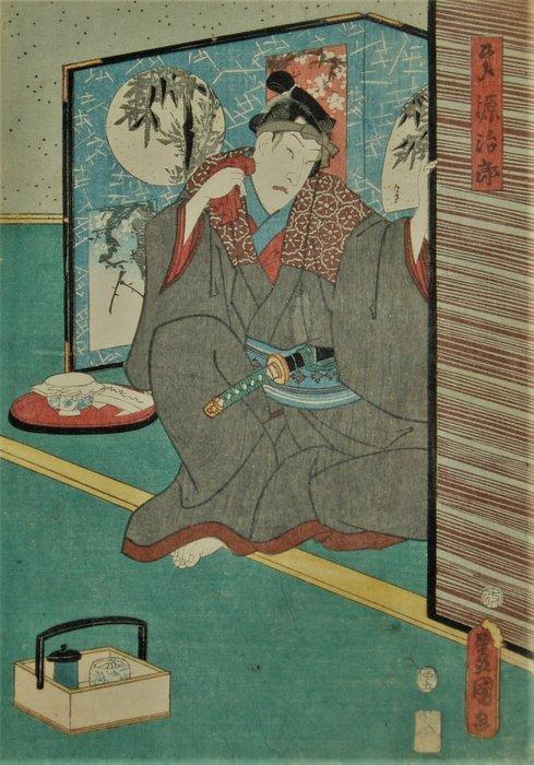 Original woodblock print - Utagawa Kunisada (1786-1865) - Kabuki actor in the role of Dai (?) Genjiro 弟源治郎 - 1854 - Japan - Catawiki