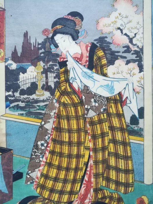 "Original woodblock print - Utagawa Kunisada (1786-1865) - 'Ki'黄 (Yellow) - From the series ""Itsutsu kinu iro no somewake"" 五衣色染分 (Five Colors of Dyed Silk) - 1847-1852 - Japan - Catawiki"