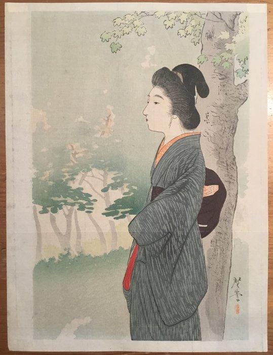 Kuchi-e, Original woodblock print - Terasaki Kogyo (1866-1919) - Schoonheid onder een rode esdoorn - Japan - 1903