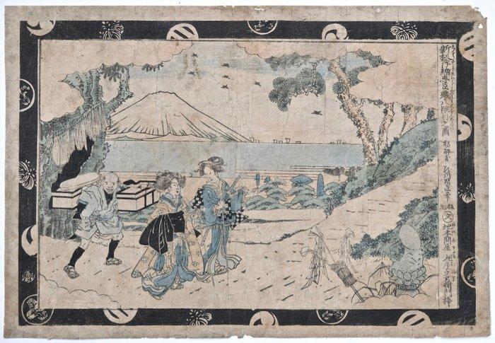 "Original woodblock print - Utagawa Kuninao (1795-1854) - 'Hachidanme no zu' (Act VIII) - From ""Newly Published Perspective Pictures of the Chushingura"" - Japan - circa 1818 - Catawiki"