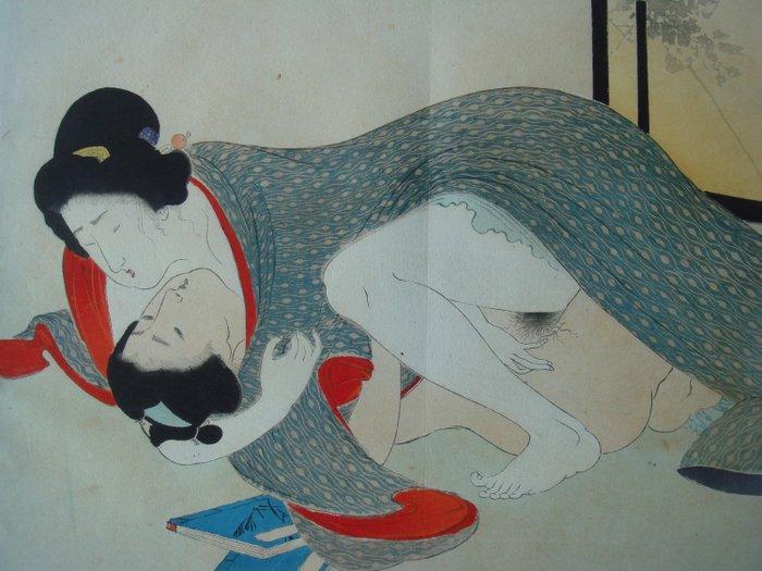"""Kuchi-e, Original woodblock print, Shunga - Tomioka Eisen (1864-1905) - From the album """"Yakumo no chigir""""i 八雲のちぎり (The Promise of Eight Clouds) - Japan - 1897 - Catawiki"""