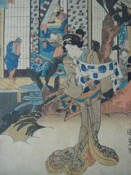 "Original woodblock print - Utagawa Kunisada (1786-1865) - 'View of Akasaka' - From the series ""Fifty-three Stations of the Tôkaidô Road"" - Japan - circa 1838"