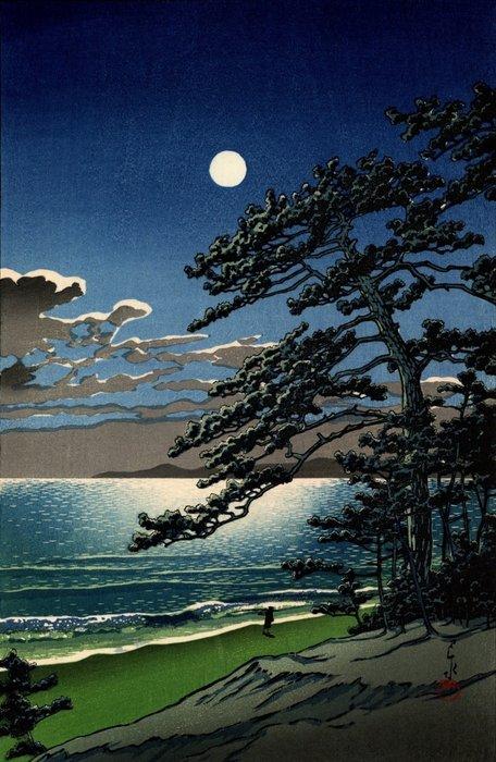 "Original woodblock print, Published by Doi Eiichi - Kawase Hasui 川瀬巴水 (1883-1957) - ""Haru no tsuki (Ninomiya kaigan)"" 春の月(二宮海岸) (Spring Moon [Ninomiya Beach]) - Japan - Heisei period (1989-2019) - Catawiki"